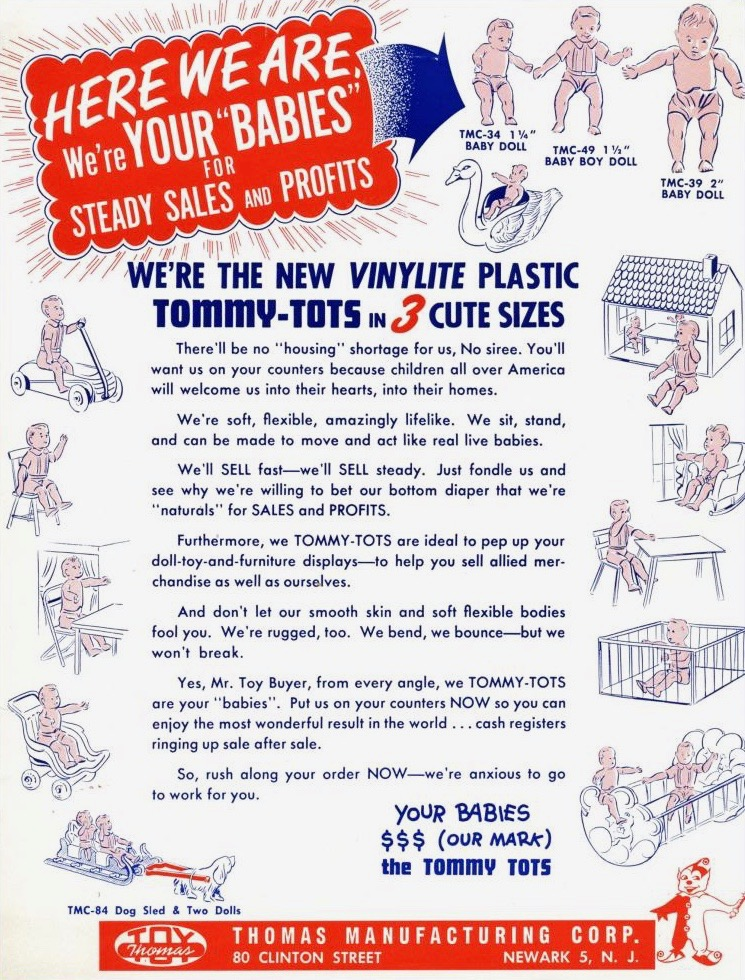 After years of manufacturing plastics for the war effort, Thomas produced popular plastic toys at 511 Morris Avenue. (Image courtesy of  U.S. Dimestore )