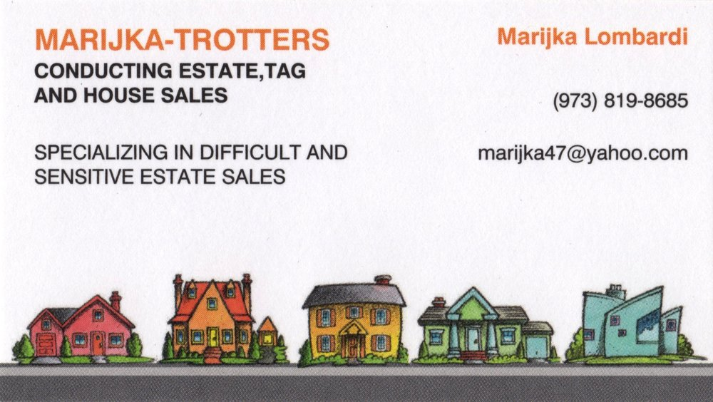 MARIJKA-TROTTERS   Marijka has run estate sales for more than 25 years, and been at The Summit Antiques Center for nearly as long. She served as president of the Associated Antiques Dealers of NJ, and also sold at the Morristown Antiques Center and at The Barn in Scotch Plains.