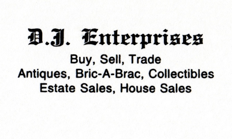 D.J. ENTERPRISES   DJE started in 1987 and has been at The Summit Antiques Center since May 1992. They offer assorted jewelry, china, pottery, purses and other items of interest.