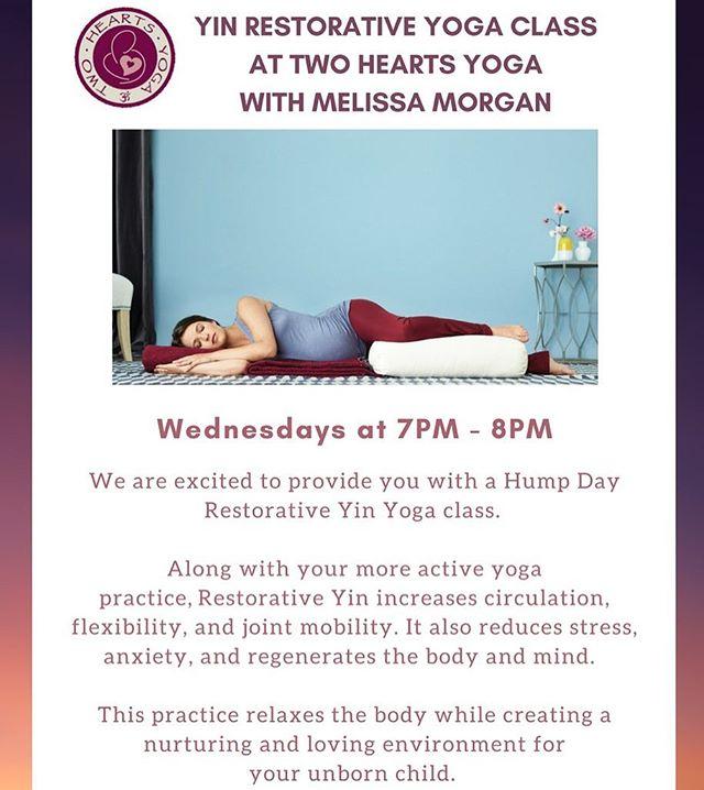 Come join us on Wednesdays for Melissa Morgan's Yin Restorative Yoga Class! #yoga #twoheartsyoga #prepostnatal #shermanoaks #pregnancy #la #yinyoga #yinrestorative #restorativeyoga #yogaeverydamnday #yogateacher #yogaaddict #mommy #mommytobe #mommylife#baby #kidsyoga #yogaaddict #relax #stressreliever