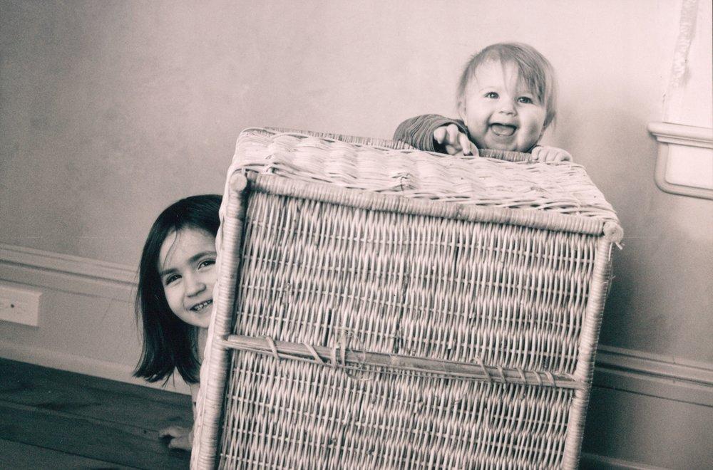 behind basket