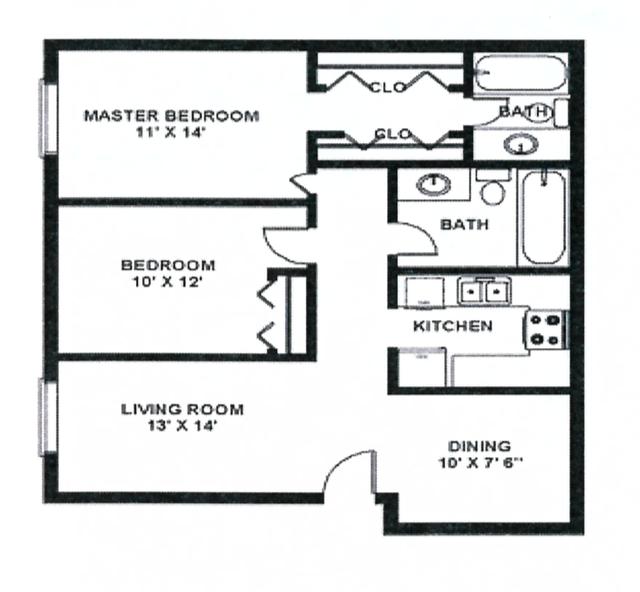 2x2 (980 sq. ft.)