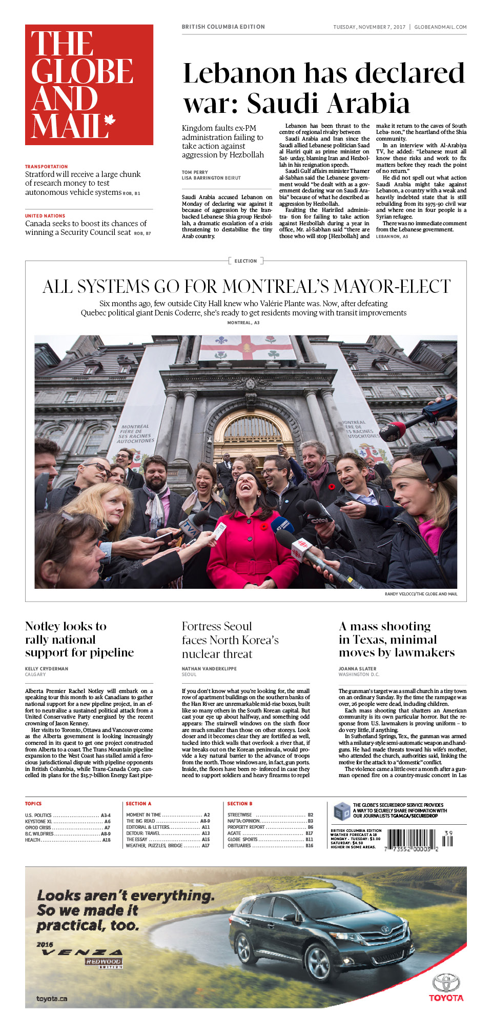 Redesigned Globe and Mail out Dec. 1.