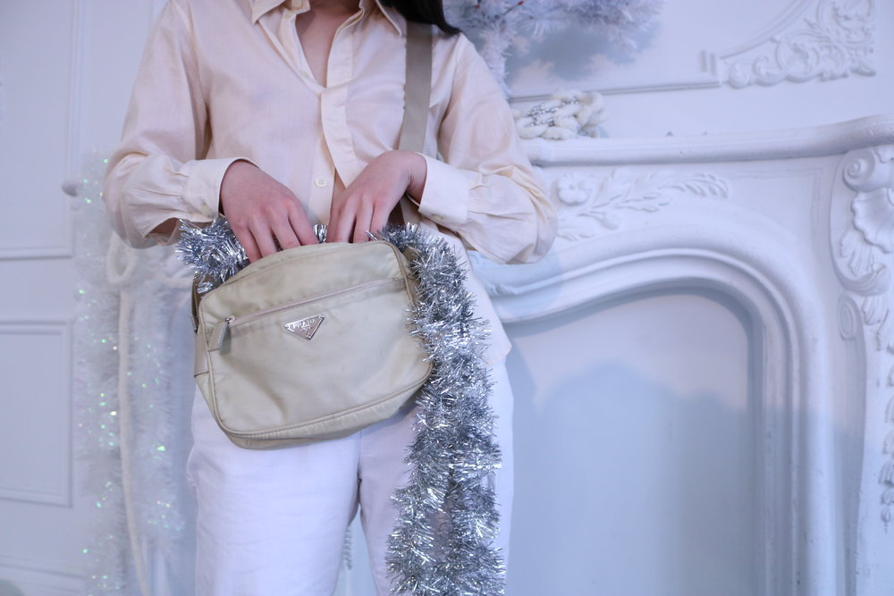 Early 2000s Beige Nylon Prada Bag and Helmut Lang semi-sheer button down top