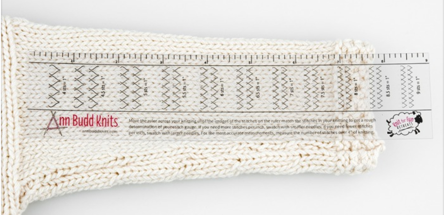 Ann Budd Gauge Ruler. Click here to find it at The Loopy Ewe!