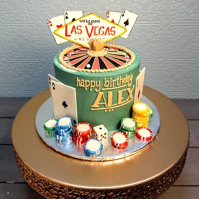 Roulette cake! Complete with white chocolate poker chips, dice, and cards! #nofondant