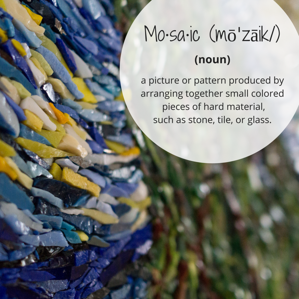 Mo·sa·ic (mōˈzāik%2F)nouna picture or pattern produced by arranging together small colored pieces of hard material, such as stone, tile, or glass..png
