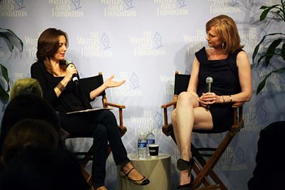 "Let's talk! Just like I'm doing here with ""Twilight"" and ""Jessica Jones"" writer Melissa Rosenberg for the Writers Guild Foundation."
