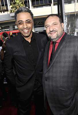 "Photo courtesy of Dan Steinberg. Director Sylvain White, left, and producer Joel Silver arrive at the premier of the feature film ""The Losers"" in Los Angeles on Tuesday, April 20, 2010."