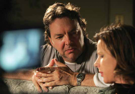 Alan Ball directs Rachel Griffiths on the set of Six Feet Under