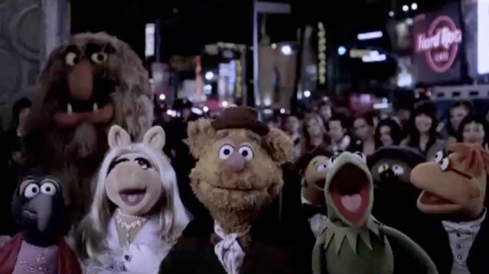 A still from the Muppets film