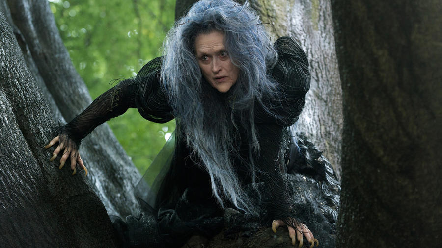 "Meryl Streep as the Witch in ""Into the Woods."" (photo credit: Peter Mountain / Disney)"