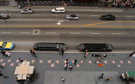 Limousines parked outside the Walk of Fame in Hollywood Blvd. Photo: Alamy