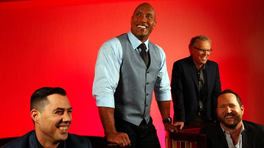 "Director Brad Peyton, left, actor Dwayne Johnson, writer Carlton Cuse and producer Beau Flynn of the film ""San Andreas"" at the Ritz-Carlton Hotel at LA Live on May 15, 2015. (Photo Credit: Genaro Molina, Los Angeles Times)"