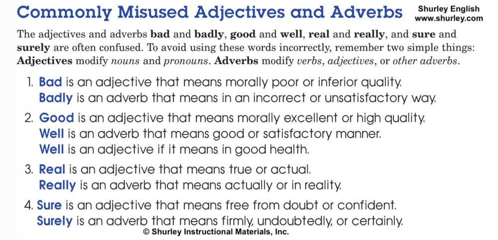 Commonly Misused Adjectives and Adverbs with Shurley English.png
