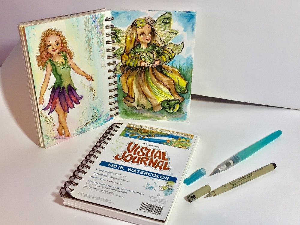 Strathmore Visual Journal 140 lb. Watercolor Cold Press, Niji Waterbrush, & Micron Pen
