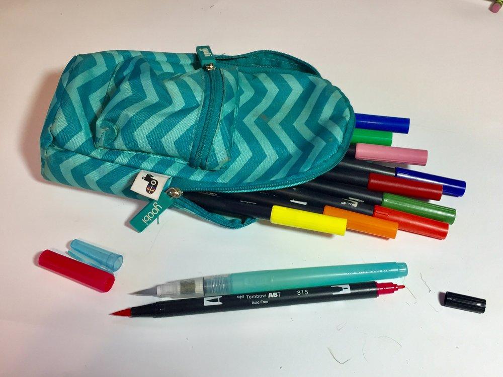 Tombow Dual Brush Pens & Niji Waterbrush