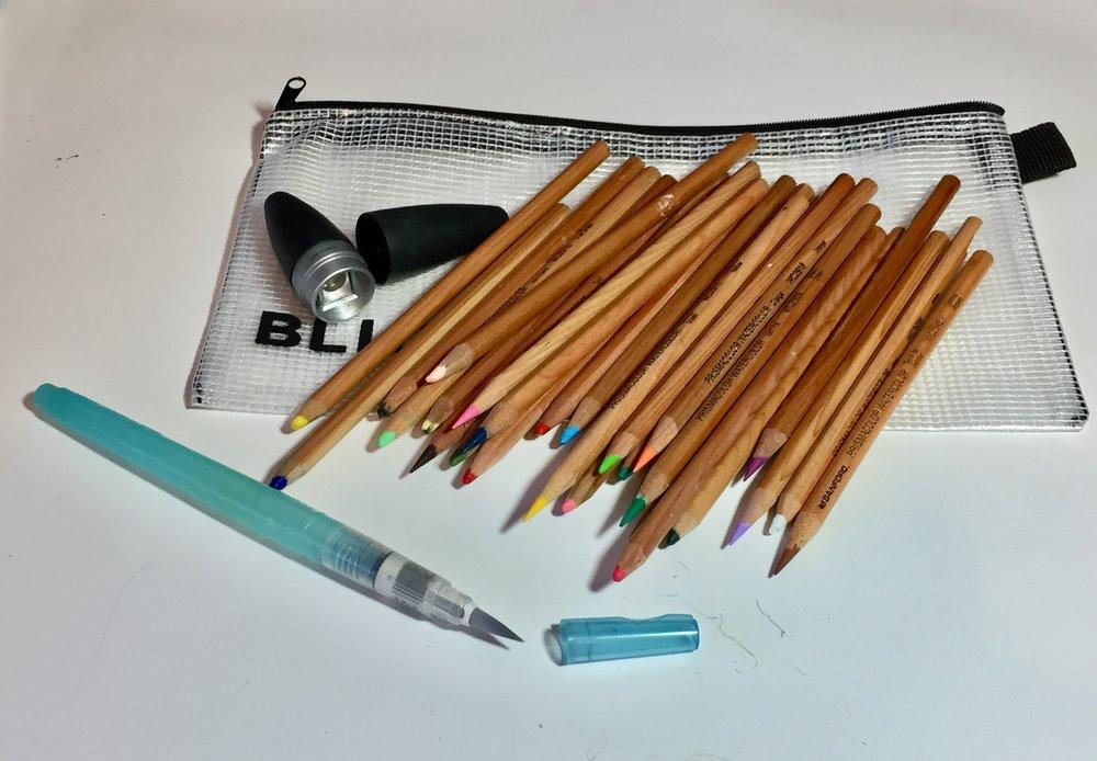 Prismacolor Watercolor Pencils, Niji Waterbrush, Kum Ellipse Sharpener, and DickBlick Pouch