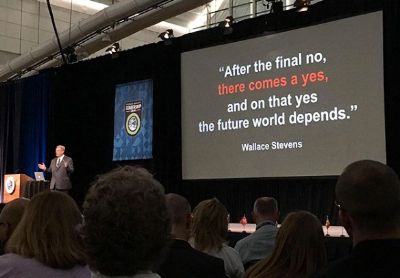 Al Gore quotes Wallace Stevens to conclude his presentation.