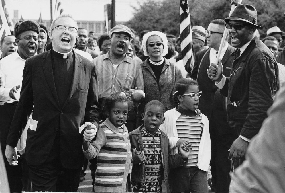 Dr. and Mrs. Martin Luther King, Jr. during the  Selma to Montgomery March  in 1965.