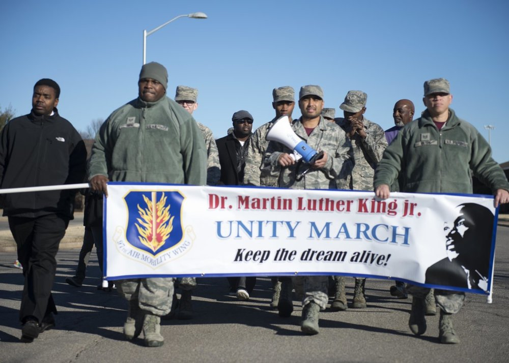 U.S. Air Force Airmen during a unity march, Jan. 2017, at Altus Air Force Base, Oklahoma. Photo by Airman  Jackson Haddon.