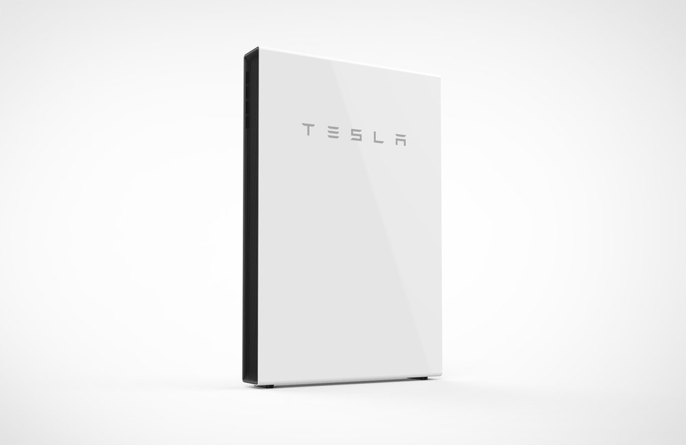A $5,500 Tesla Powerwall 2 rechargeable battery designed to enable self-consumption of solar power. Photo courtesy of Tesla.