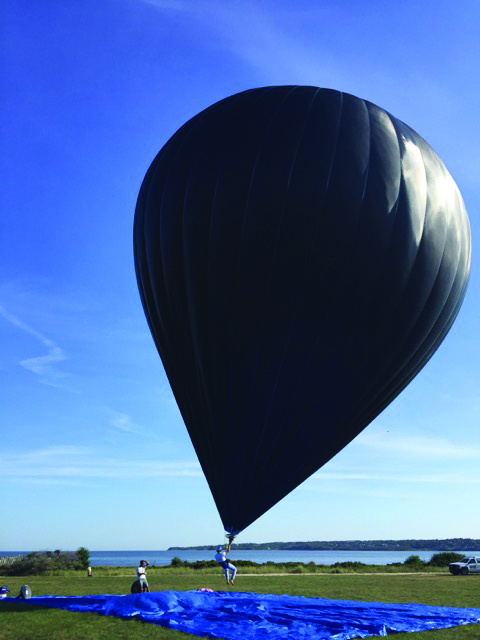 Friedrich-Grosvenor launches his solar-powered passive hot-air balloon in Montauk. Courtesy Mamoun Friedrich-Grosvenor.