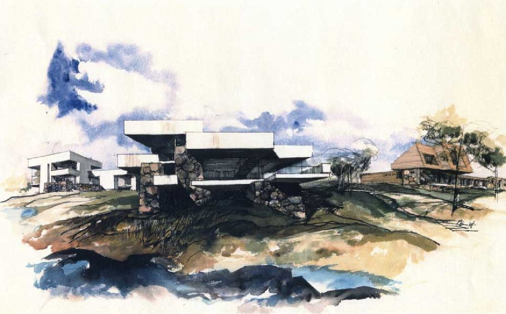 A rendering of three Shelter Island residences by Norman Jaffe