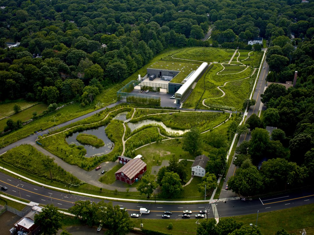 "The Whitney facility draws water from Lake Whitney, a reserve source for the South Central Connecticut Regional Water Authority.  Michael Van Valkenburgh, the landscape architect for the Whitney project, wanted ""neighbors to engage with the land from the perspective of the water that flows through it."" Photo by Steve Turner"