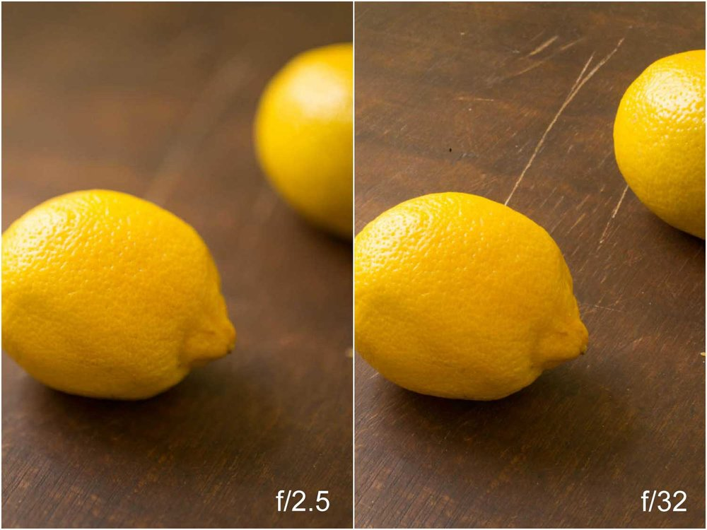 Compare the two shots - As you can see the photo on the left the aperture is f/2,5 - creating a very shallow depth of field (making the second lemon blurry). The image on the right is f/32, which makes the background equally in focus as the foreground.