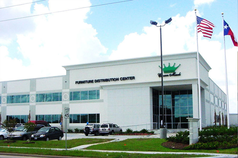 Headquarter for a large Furniture Distribution Center Company located in Houston, TX. This is a 400,00 square foot office and warehouse building provide service for Crown Mark.                Started in 1983, Crown Mark has been growing ever since. They also have branch distribution  center in POMONA, CA, and High Point, NC, which also designed by us.
