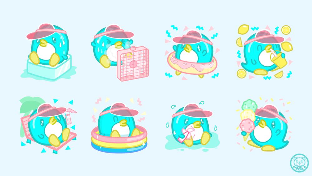 Cool Penguin, Character Illustration Set Summer 2017