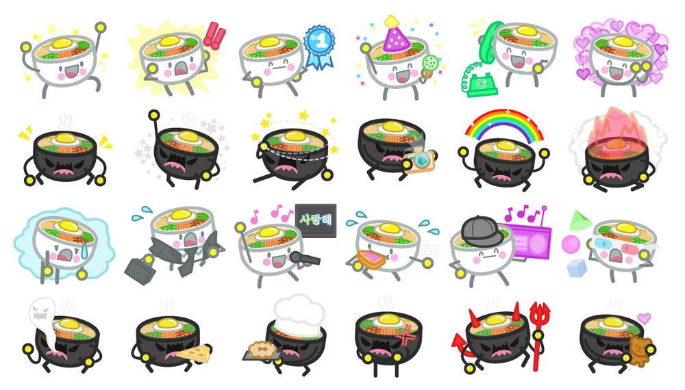 Bibimbap Friends, Digital Sticker Pack for iMessage / LINE