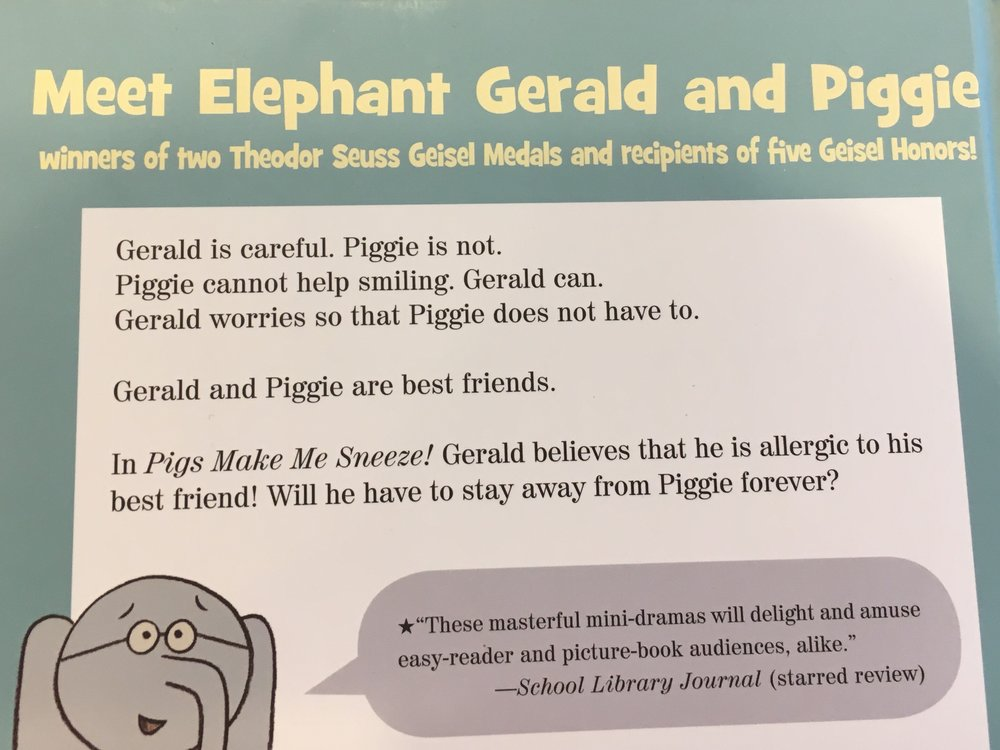 Image: back cover of an 'Elephant and Piggie' book by Mo Willems