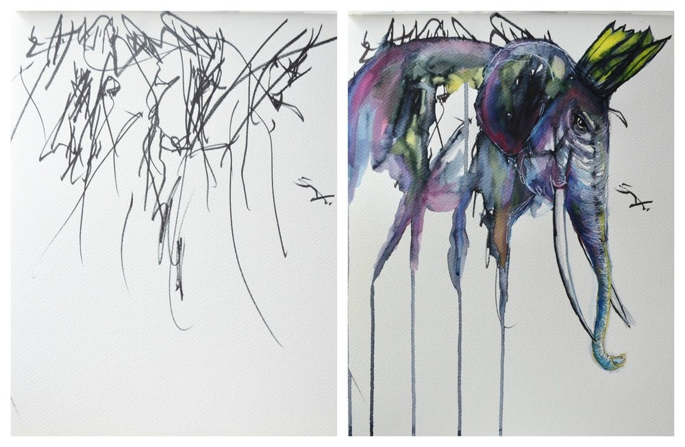 Image: a toddler's drawing turned into a multicolored watercolor painting of an elephant.  Image credit: Ruth Oosterman