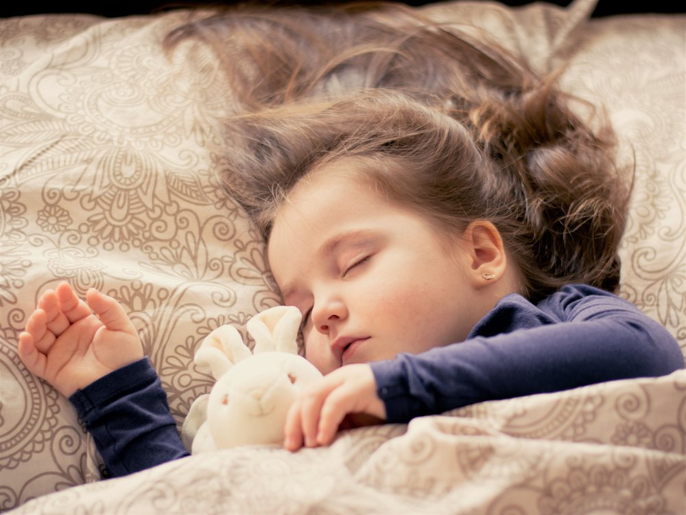 Image: a toddler girl sleeps with a stuffed bunny. Image credit: Pixabay, CCO creative commons license