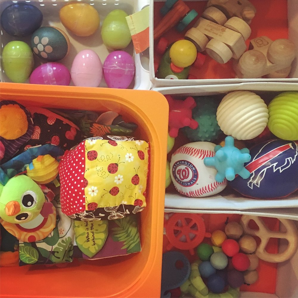 Image: Baby toys sorted in bins
