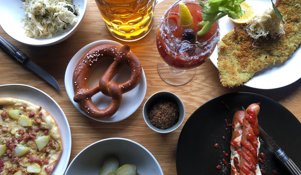 Berliner Bottomless Brunch $55pp - Over an hour and a half, enjoy monstrous pork schnitzels, duckwurst hot dogs and käsespätzle (German mac n' cheese) while sipping on Steins of Hefeweizen bier, Bloody Mary's and Berlin-style Mimosas. At $55 per person, it's as good value as a certain German supermarket.The menu also includes Messer's famous German flatbread, house made pickles, mountains of sauerkraut and of course, Pretzels.Keeping within the German spirit, brunch will run from 11am all the way to 3pm Saturdays.CAN'T MAKE IT FOR SATURDAY BRUNCH?Fear not as we'll be serving the Berliner menu for a-la carte lunch, Tuesday to Friday.