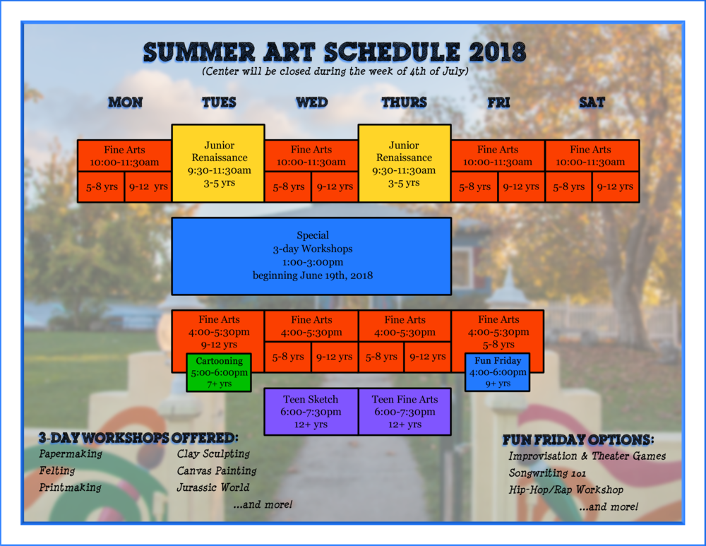 Click the image above to open a printable version of our Summer Schedule.