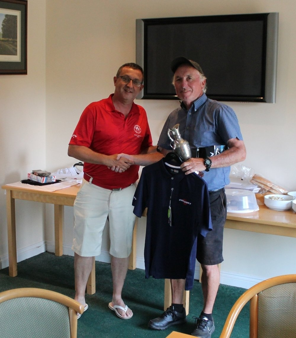 Andy Bell presenting Cliff Shanahan with his prizes