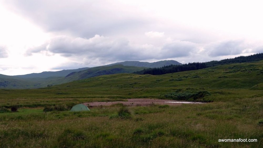Wild camping as a solo female hiker near the Inveroran Hotel along the West Highland Way. awomanafoot.com