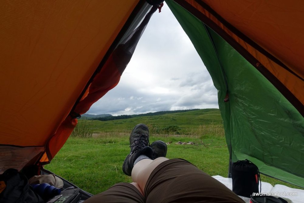 Rest at a wild camping area near the Inveroran Hotel when solo hiking along the West Highland Way