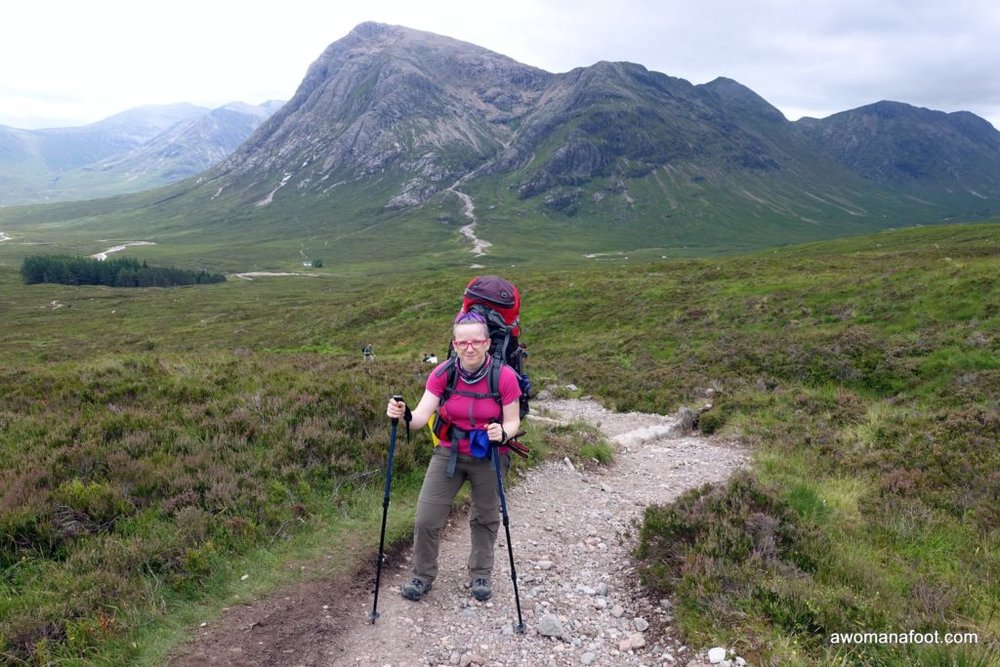 Solo hiking up the Devil's Staircase along the West Highland Way in Scotland. awomanafoot.com