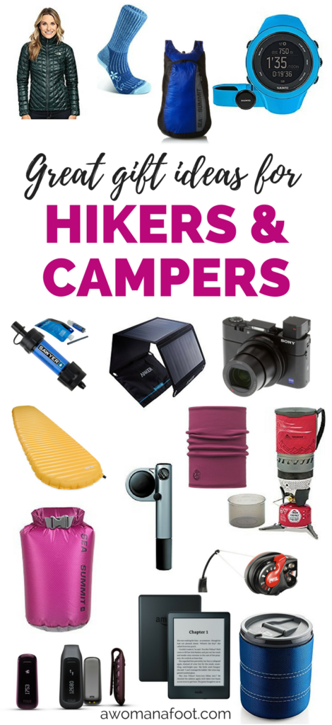 Great Gift Ideas for Hikers & Campers - perfect for every outdoorsy traveler! | Gift guide | Gifts for Hikers | Gifts for her | Gifts for him | Christmas gifts | Hiking Gadgets | awomanafoot.com #gift #GiftGuide #Hiking #Gear #GiftsForHer #GiftsForHim #GiftIdeas #BirthdayGift #Valentine #Christmas #MothersDay #FathersDay #Adventure #Outdoors