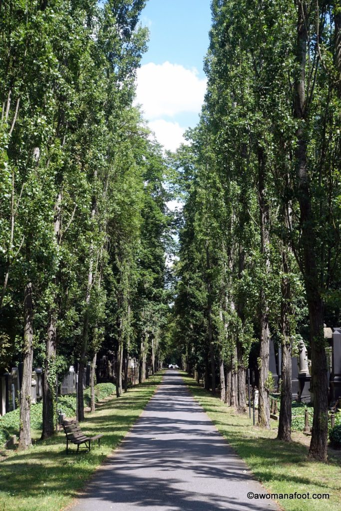 The New Jewish Cemetery in Prague - a beauty beyond Kafka's grave. awomanafoot.com | #Prague | #Cemetery | #Judaism | #JewishHistory | #ArtHistory | #EasternEurope | #Kafka | #LiteratureTravel | What to see in Prague | Prague off the beaten path | Travel for book lovers | Cultural Travel |