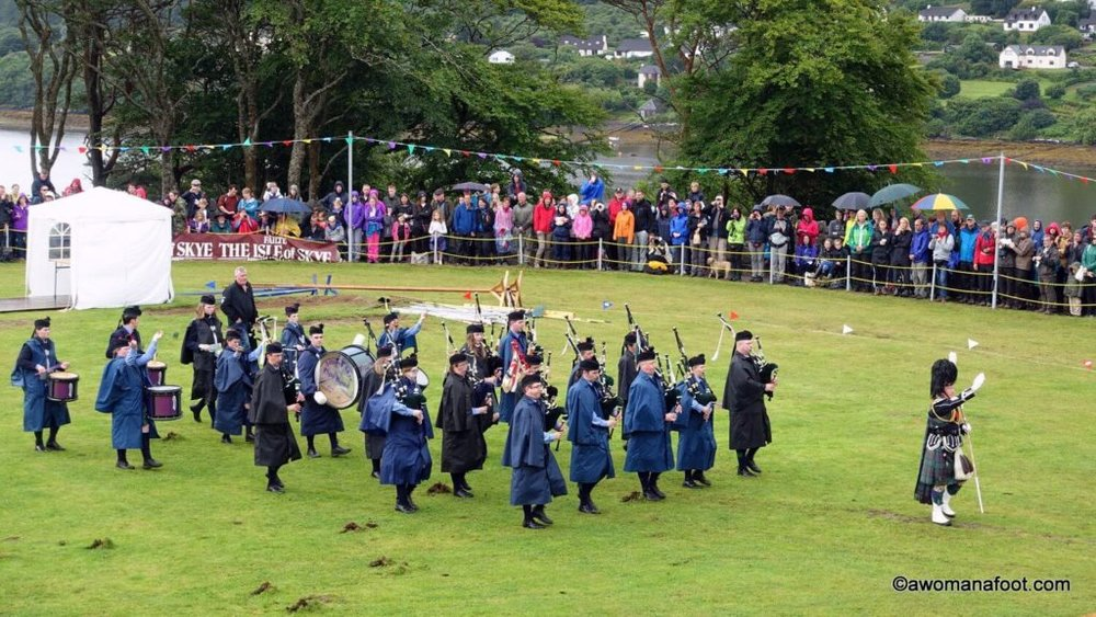 Seeing the Highland Games in Scotland is a real treat! Check it out - awomanafoot.com | Must-do in Scotland | What to do on Skye | Best activities in Scotland | How to see the Highland Games in Scotland | #Scotland #Highland #Skye #Portree | What to see in Scotland | Scottish Culture | Scottish Tradition