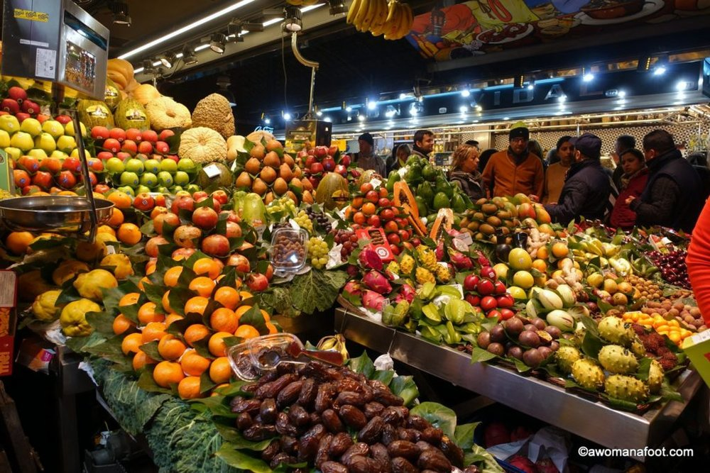 Why La Boqueria Market will be the most colorful and surprising place on your Barcelona travel itinerary! awomanafoot.com