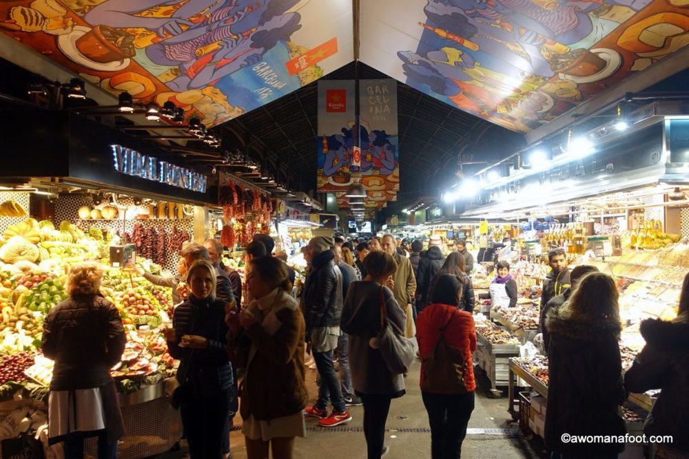 Why La Boqueria Market will be the most colorful and surprising place on your Barcelona travel itinerary! awomanafoot.com What to do in Barcelona | Best European Food Markets | Catalonia travel destinations | Best destinations in Spain |City travel ideas | Historical markets in Europe |