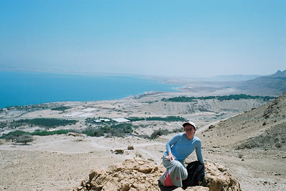 Hiking solo in Ein Gedi, Israel - in... skirt! I was pretty religious back then!