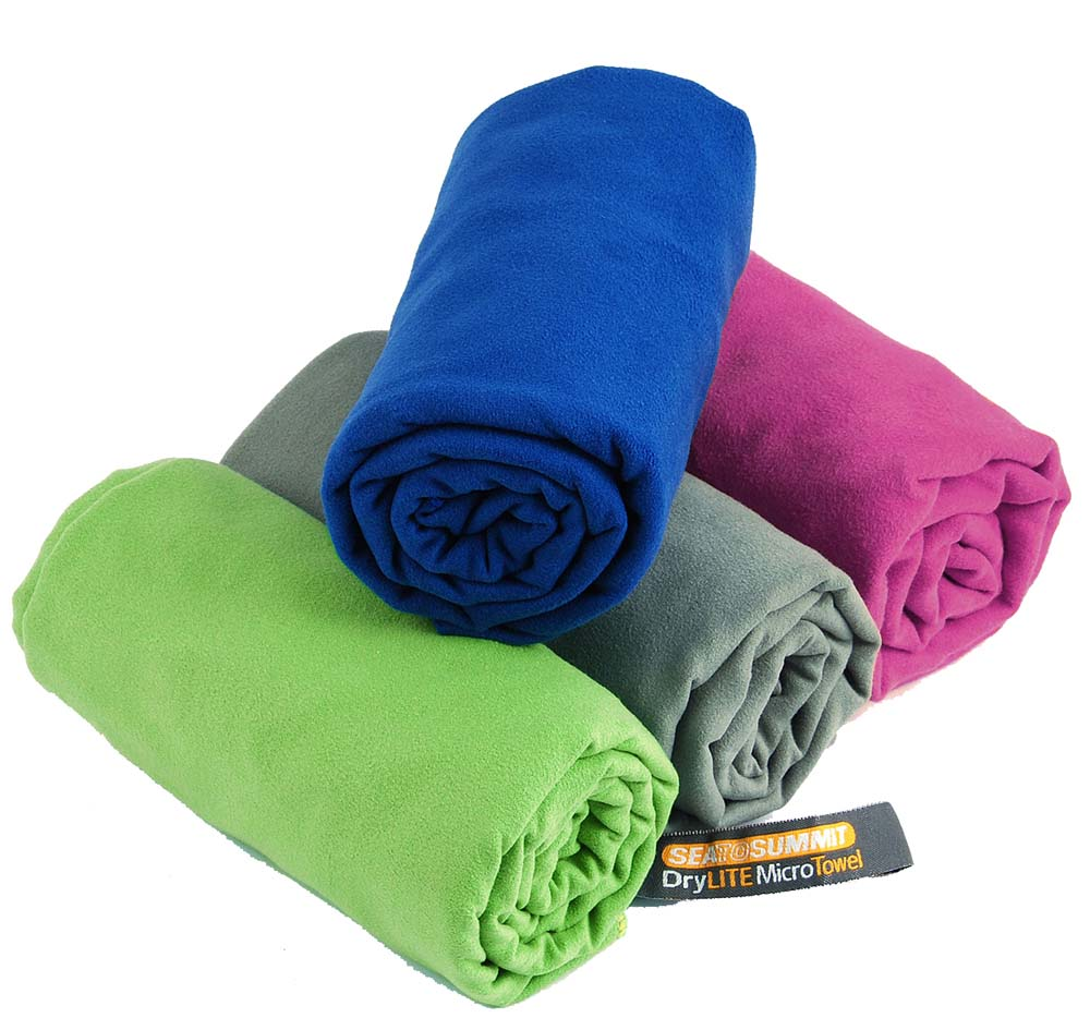 Sea to Summit DryLite Towel - A towel, huh? But it's not your old boring towel! This is a modern, light, and extremely fast drying travel towel! :) No one is taking cotton ones anymore - they are big, heavy and take forever to dry. It's good to have one used as a towel and a smaller one to use around the camp - as a kitchen towel or to dry condensation from a tent.